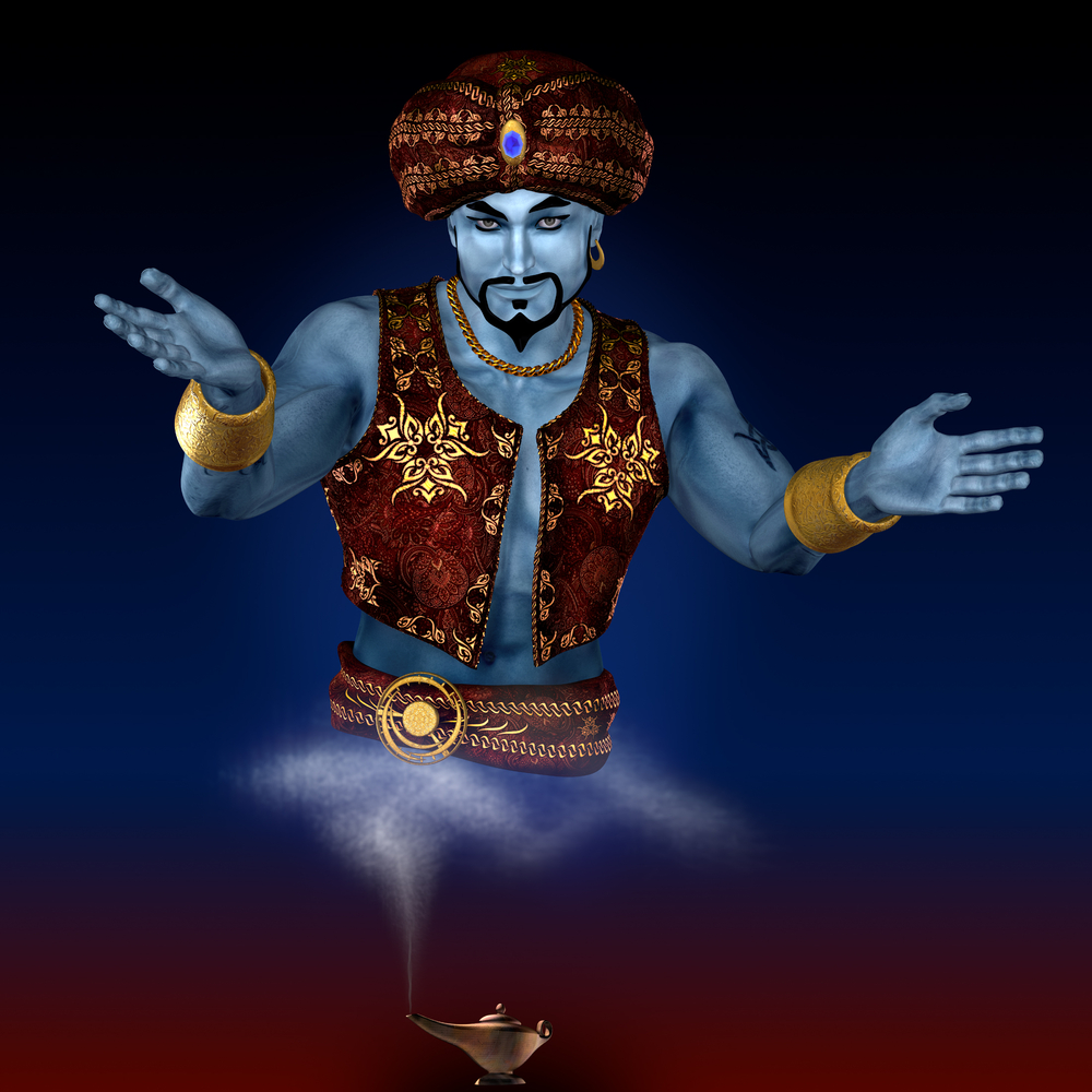 a genie appears from a oil lamp
