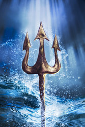 Atlantean Magick with trident emerging from the sea