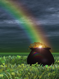 pot of gold at the end of the rainbow showing how to attract wealth