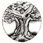 Black & white drawing of owl in a tree logo