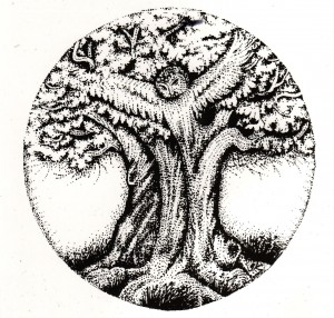 Black & white drawing of owl in a tree logo for remote healing