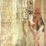 Egyptian goddess Ahara with hieroglyphics in the background