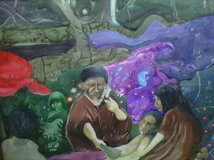 Shamanic healing in a Peruvian painting