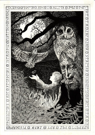 Moonlit owl and shaman black and white drawing for Peter Aziz's shamanism training