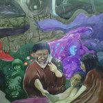 shamanic healing shown in a Peruvian painting