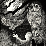 Moonlit owl and shaman black and white drawing illustrating Peter Aziz's shamanism training