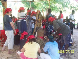 New initiates preparing for vodou initiation ceremony
