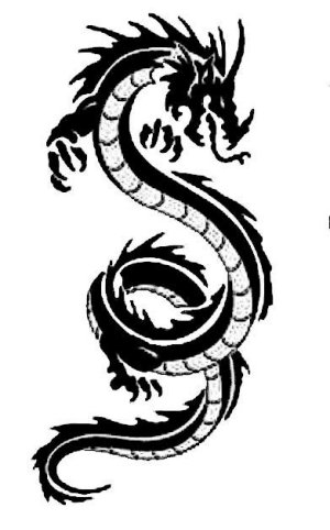 Black and white dragon image for dragon magick course