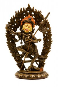 Dakini statue with painted face