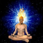 Man in lotus position with expanded crown chakra