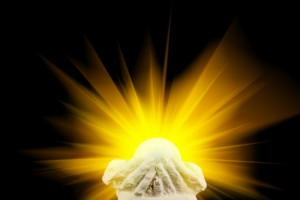 Golden healing light emenating from ball symbolising the crystal & candle magick healing kit