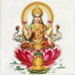Indian goddess Lakshmi sitting in a lotus flower