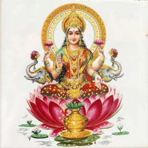 Vedic spiritual empowerments - Indian goddess Lakshmi sitting in a lotus flower
