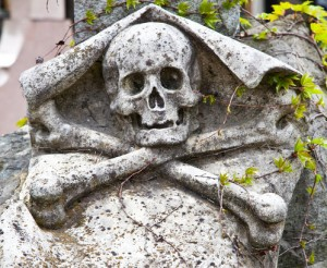 Skull & crossbones on tombstone representing Shinigami vampire slayers