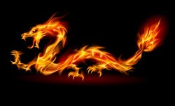 Dragon made of flames - part of Peter Aziz's shamanic tradition